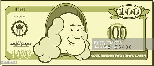 one hundred dollar bill - cartoon - benjamin franklin stock illustrations, clip art, cartoons, & icons
