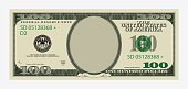 One hundred dollars bill template. American banknote with empty portrait center.
