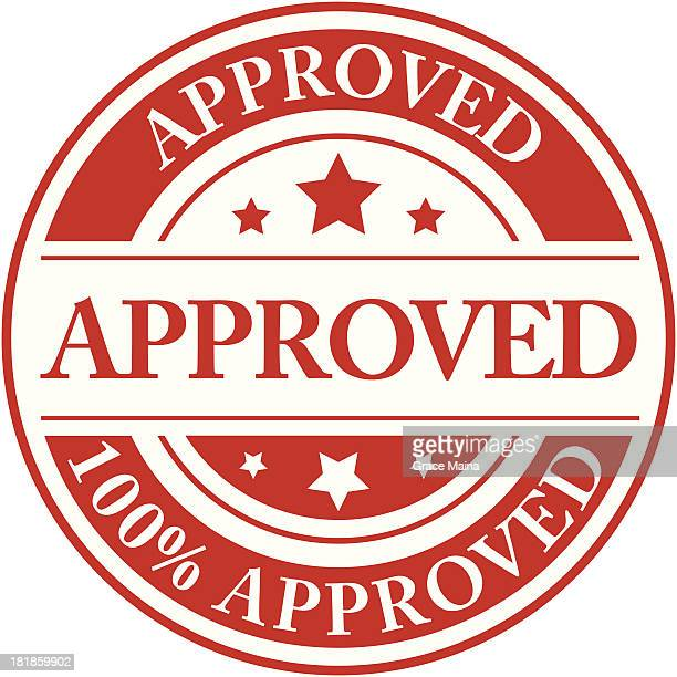 a one hundred percent approved red stamp - permission concept stock illustrations, clip art, cartoons, & icons