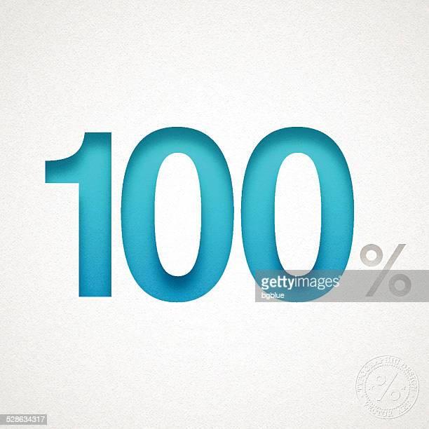 100% -ブルーの番号を水彩画紙 - 数字の100点のイラスト素材/クリップアート素材/マンガ素材/アイコン素材