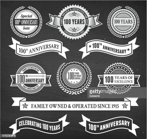 one hundred year anniversary hand-drawn chalkboard royalty free vector background - one year anniversary stock illustrations