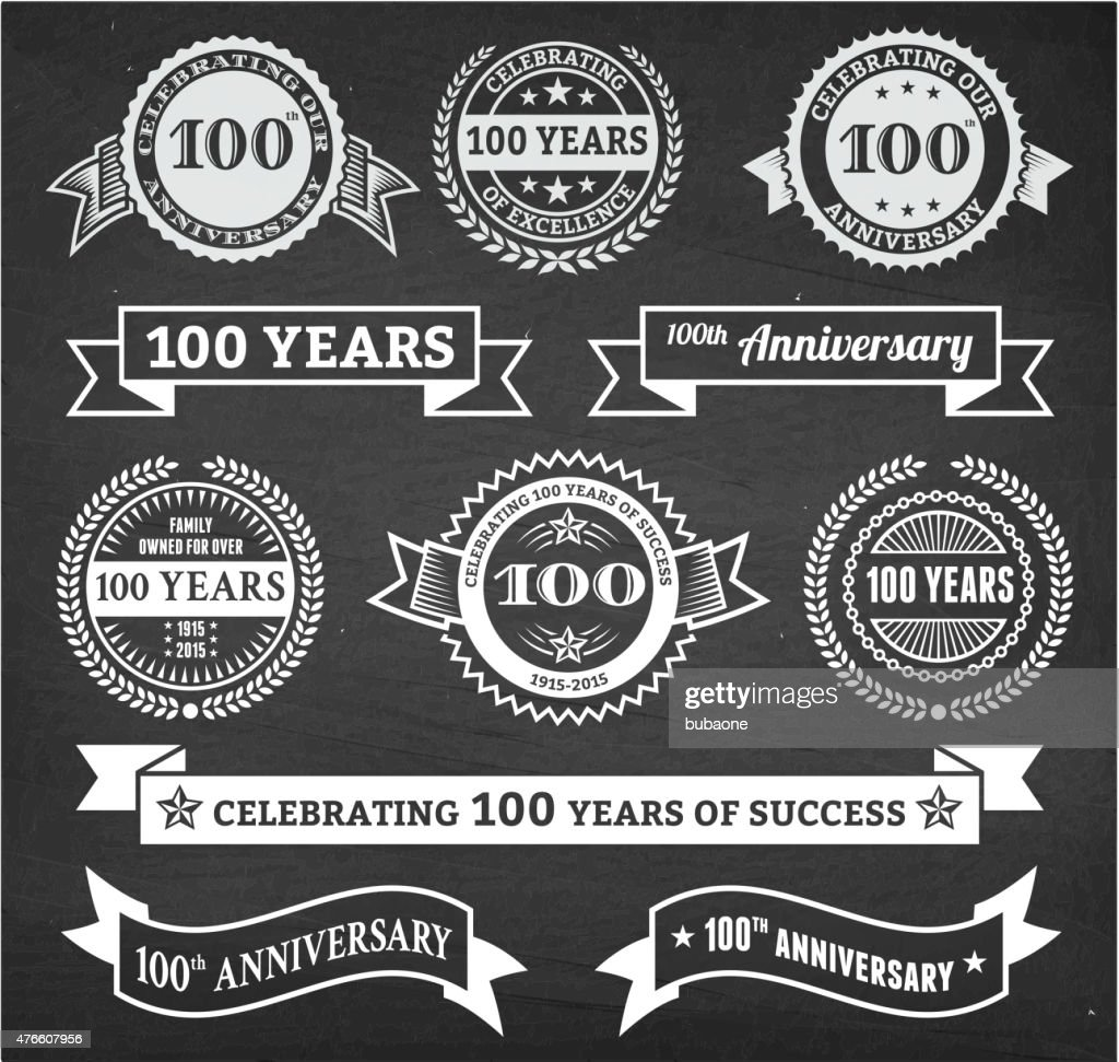 one hundred year anniversary hand-drawn chalkboard royalty free vector background
