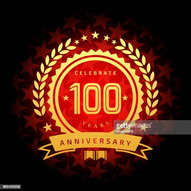 one hundred year anniversary icon with red color star shape background - 100th anniversary stock illustrations