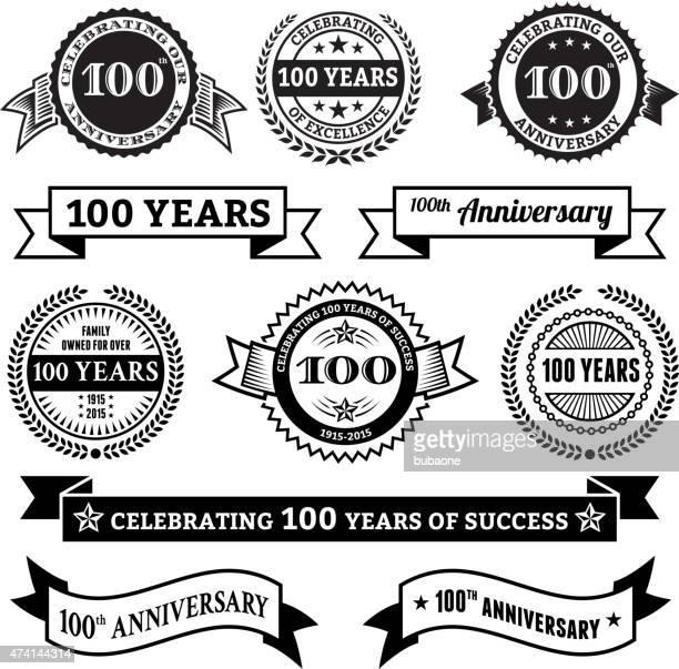 100 周年記念のベクトルバッジベクトルの背景設定 - 数字の100点のイラスト素材/クリップアート素材/マンガ素材/アイコン素材