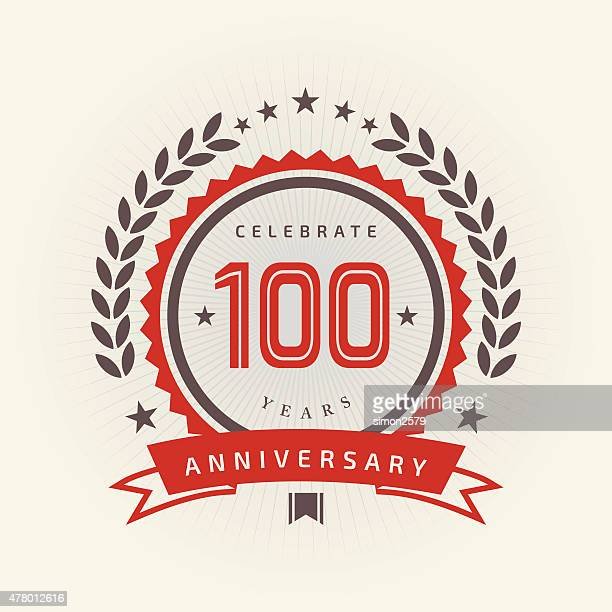 one hundred years anniversary emblem - anniversary stock illustrations