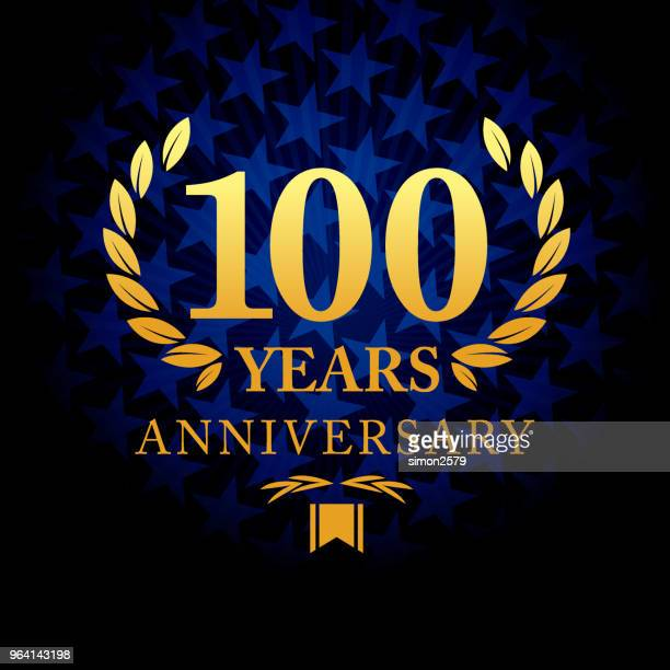 one hundred years anniversary icon with blue color star shape background - 100th anniversary stock illustrations