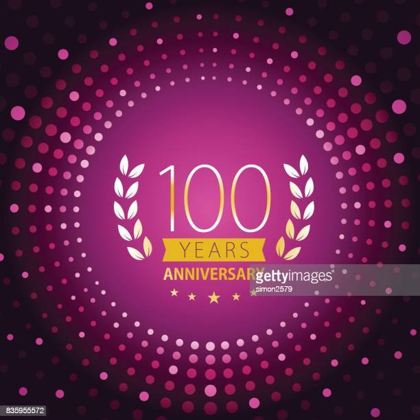 one hundred years anniversary icon with purple color background - anniversary card stock illustrations