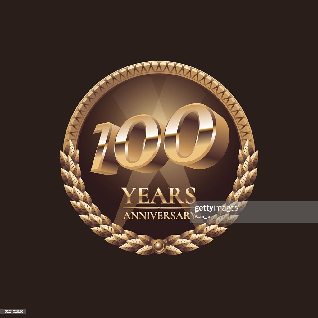 One hundred years anniversary vector icon. 100th celebration design