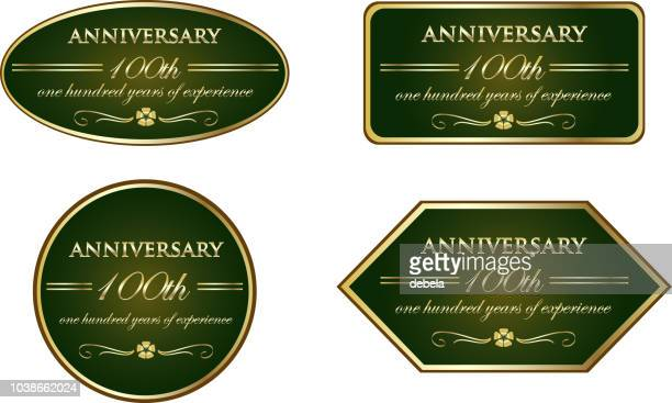one hundred years of experience luxury vintage anniversary label collection - memorial plaque stock illustrations, clip art, cartoons, & icons