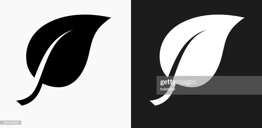 One Leaf Icon on Black and White Vector Backgrounds