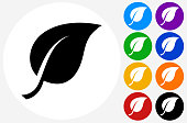One Leaf Icon on Flat Color Circle Buttons