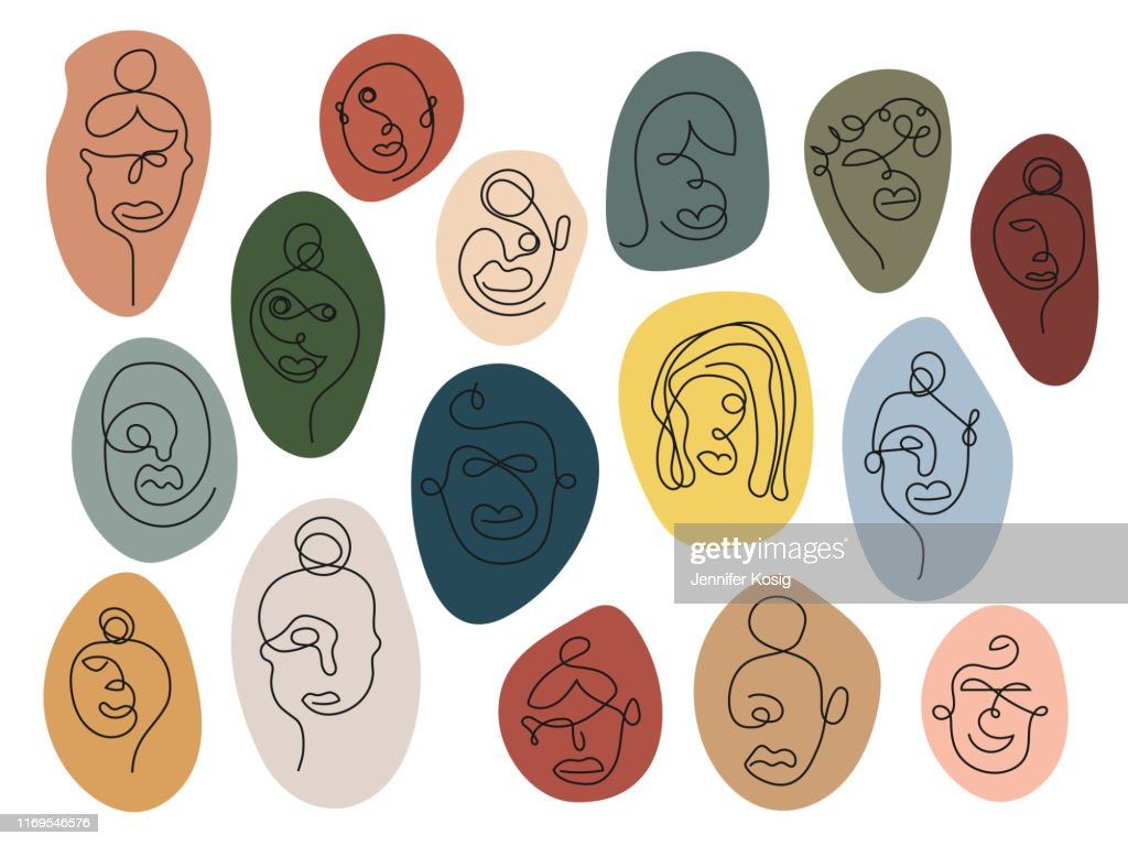 1つの線の芸術の顔、カラフル : ストックイラストレーション