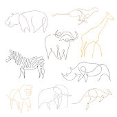 One line safari animals set. Hand drawn vector illustration