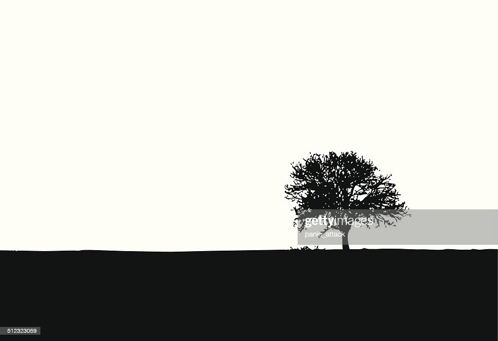 One lonely tree vector silhouette