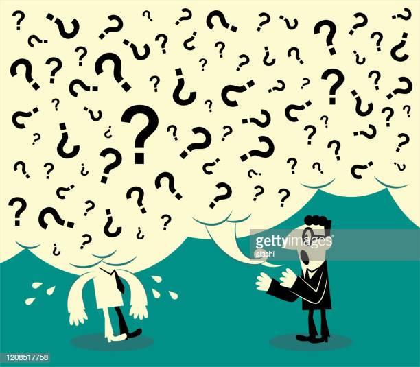 ilustraciones, imágenes clip art, dibujos animados e iconos de stock de un hombre hace muchas preguntas y otro no puede soportarlo; un hombre no puede entender lo que dijo otro hombre - persuasión