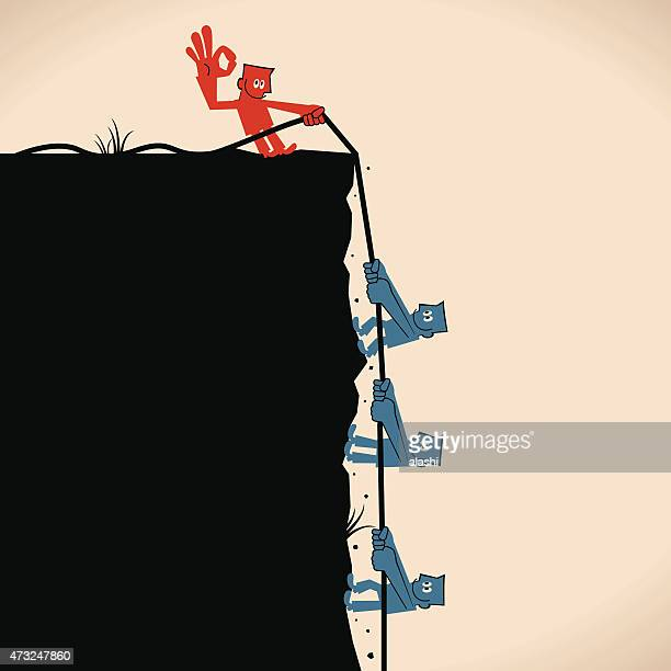 one man help people to climb the cliff, pulling rope - crag stock illustrations, clip art, cartoons, & icons