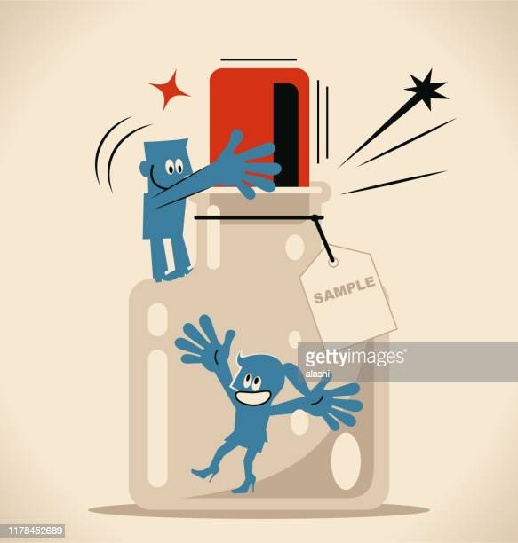 one man helping a woman to escape from the confined space glass bottle with cork (airtight container) and label - cork stopper stock illustrations, clip art, cartoons, & icons