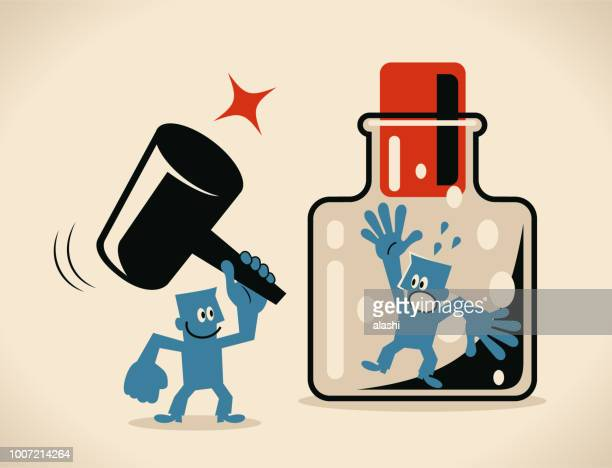one man holding big hammer and helping another man to escape from the confined space glass bottle with cork - mallet hand tool stock illustrations