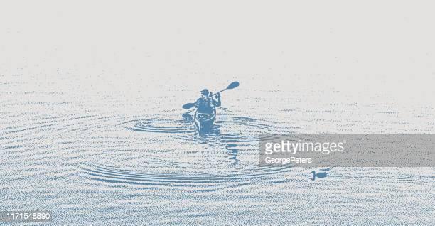 one man kayaking and paddling on a lake - kayak stock illustrations