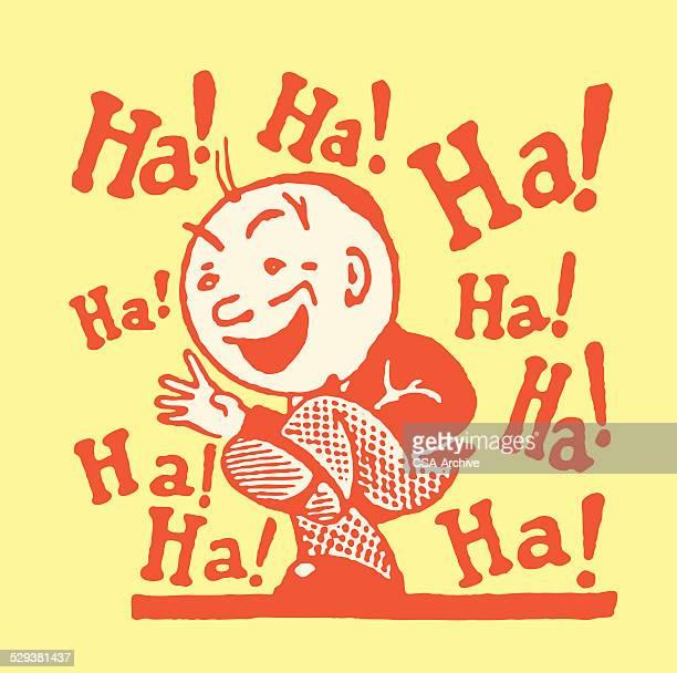 one man laughing ha! ha! ha! - laughing stock illustrations