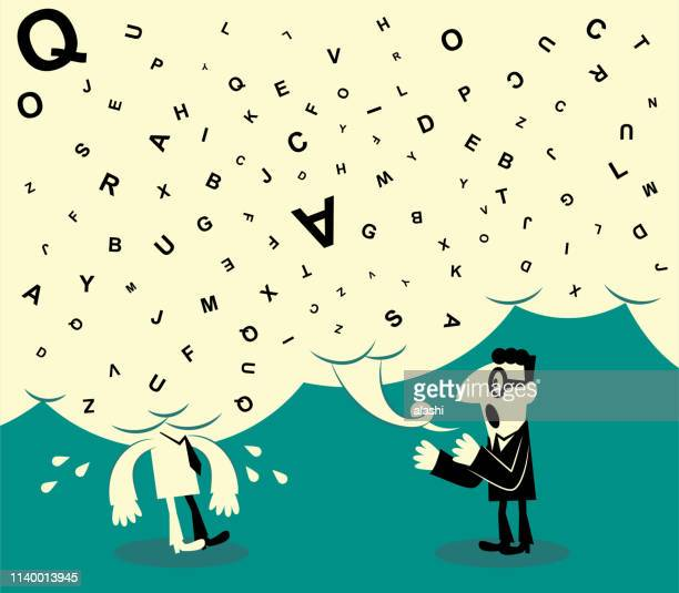 one man making too long a talk with a big speech bubble and another man can not stand it - ordering stock illustrations, clip art, cartoons, & icons