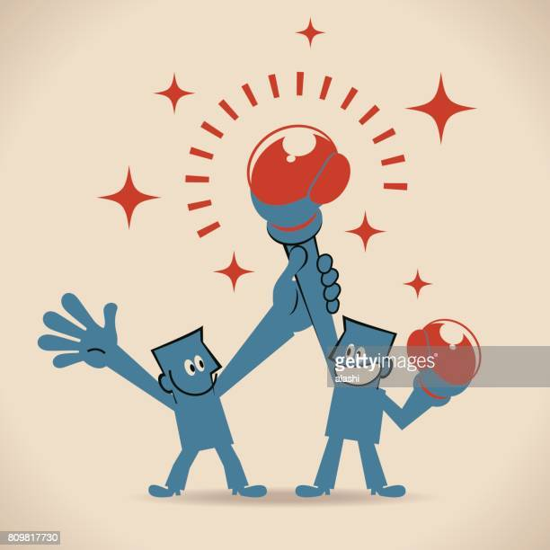 one man raising another man's hand, declaring businessman winner - knockout stock illustrations