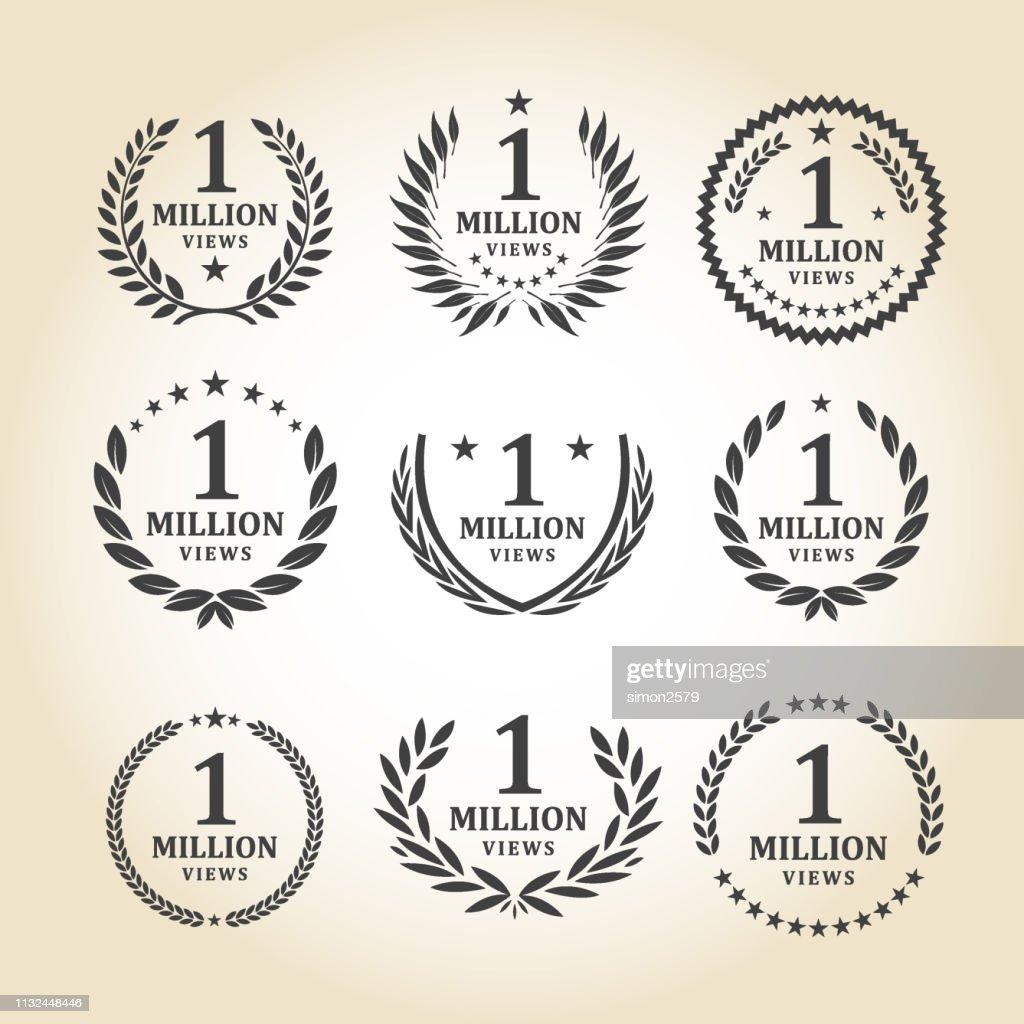 1.000.000 bekeken embleem set : Stockillustraties