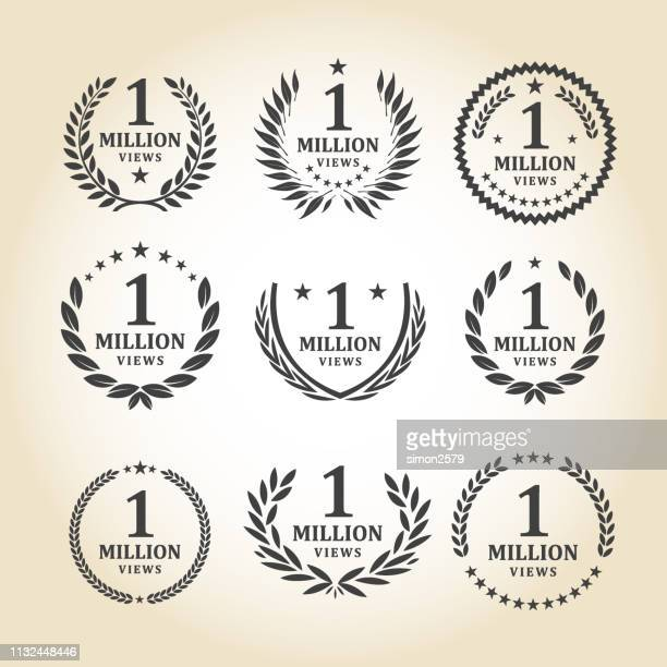 one million views emblem set - millionnaire stock illustrations, clip art, cartoons, & icons