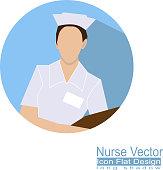 one nurse flat icon on blue background vector
