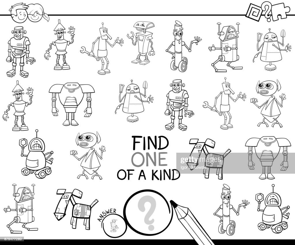 One Of A Kind Game With Robots Color Book Vector Art Getty Images