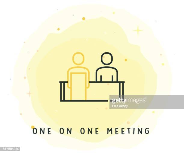 One on One Meeting Icon with Watercolor Patch