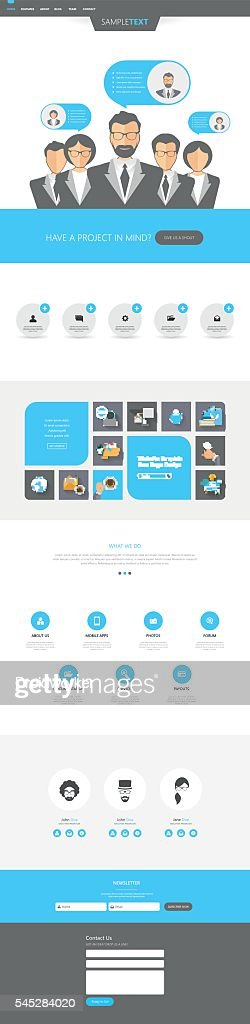 One Page Business Website Template, Professional Vector Design.