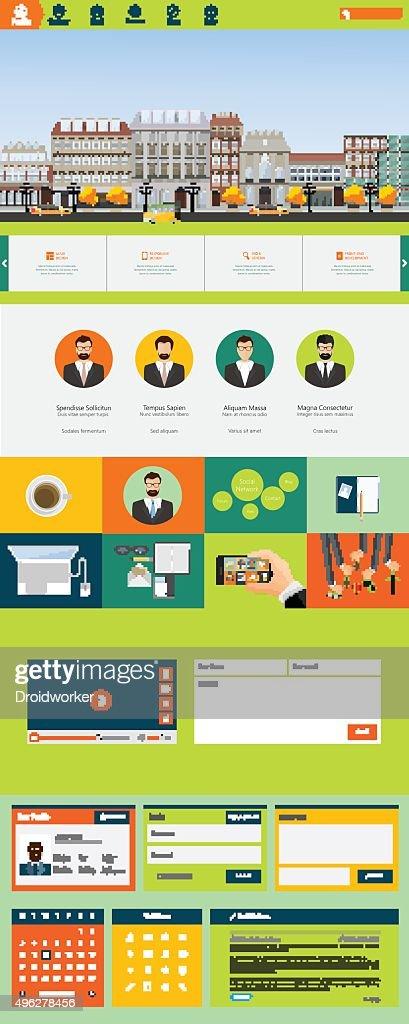 One page flat website design, huge collection website elements.
