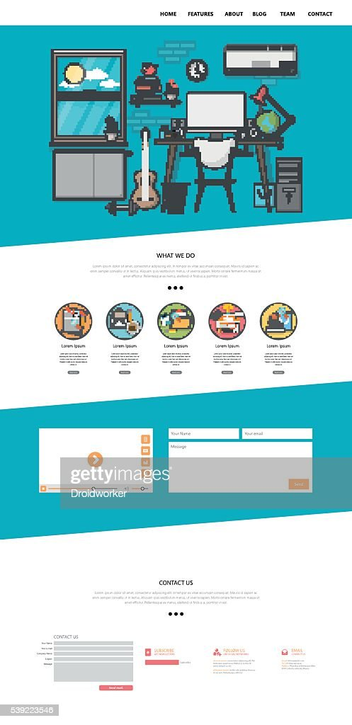 One Page Flat Website Design. with workplace illustration,