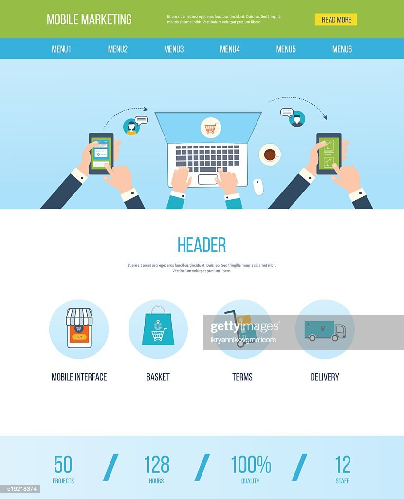 One page web design template with icons of mobile marketing.