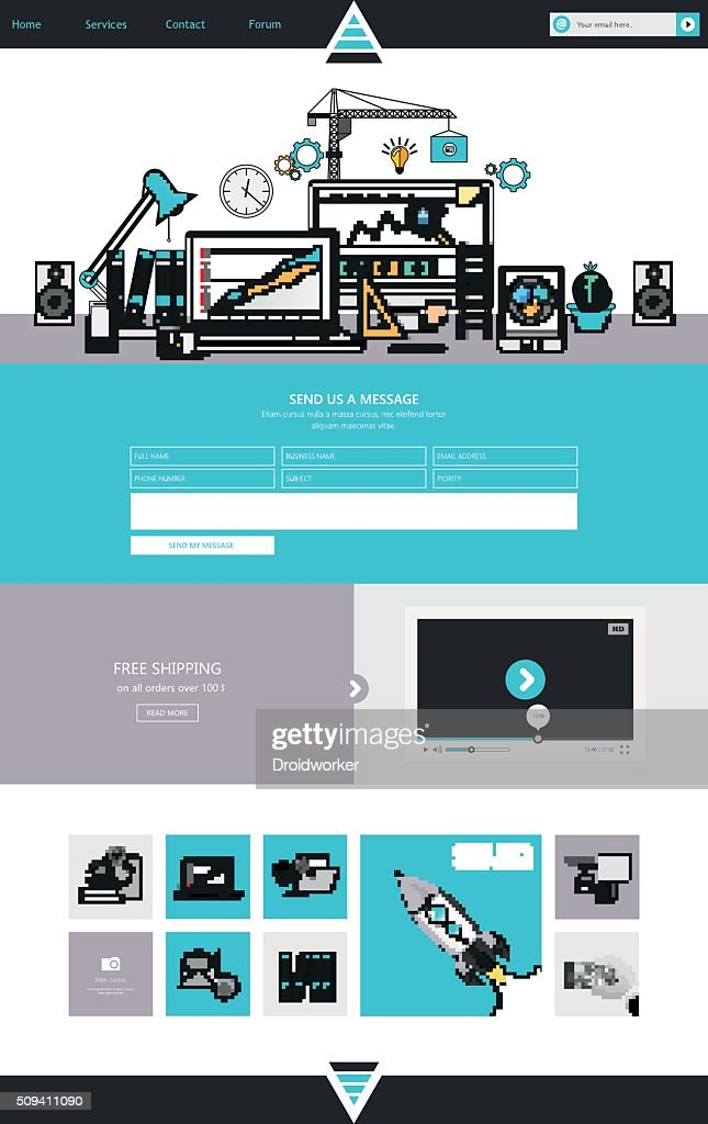 one page website design template in flat design