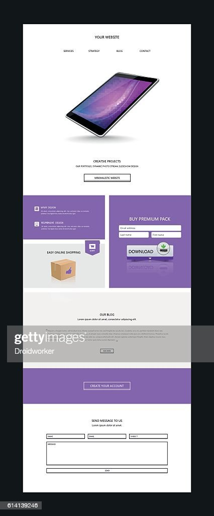 One page website design template with Abstract header design.