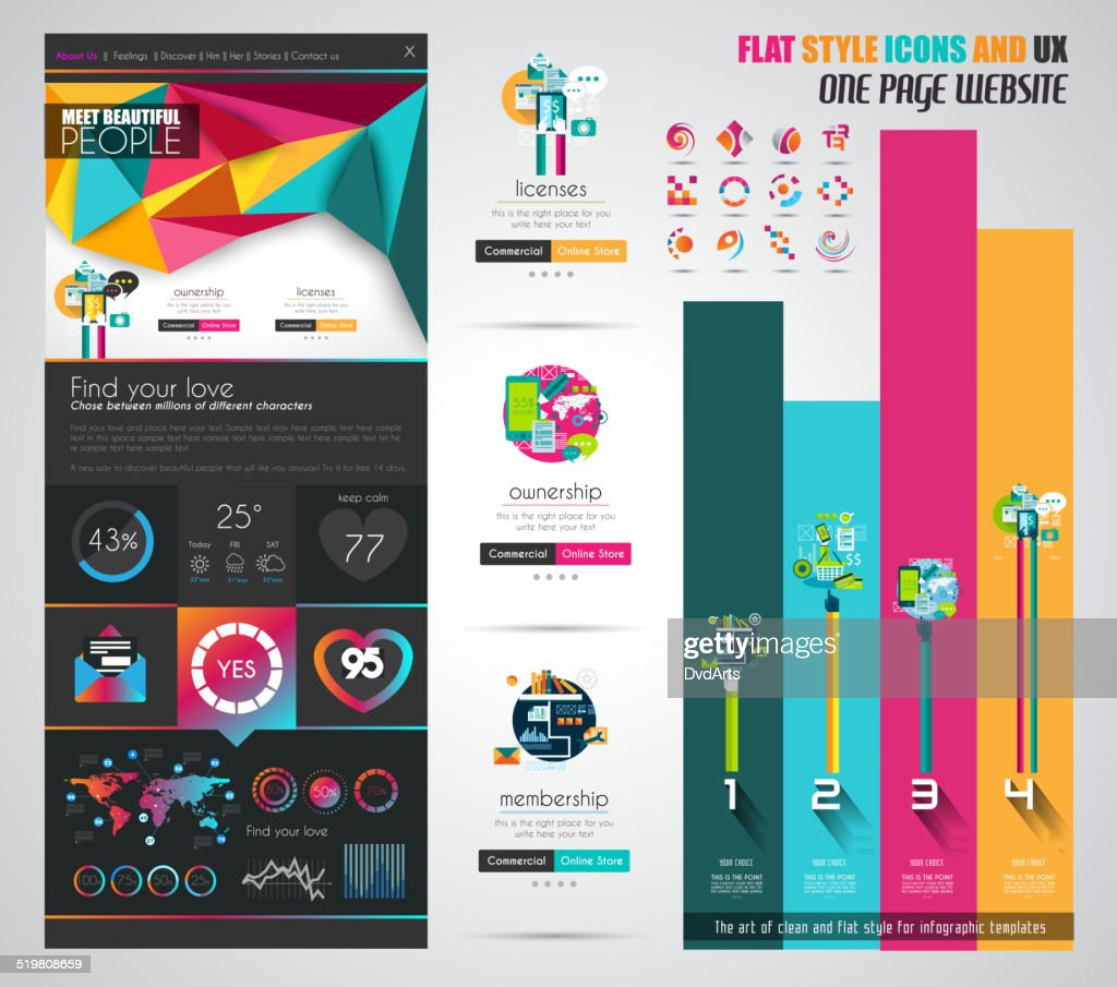 One page website flat UI design template