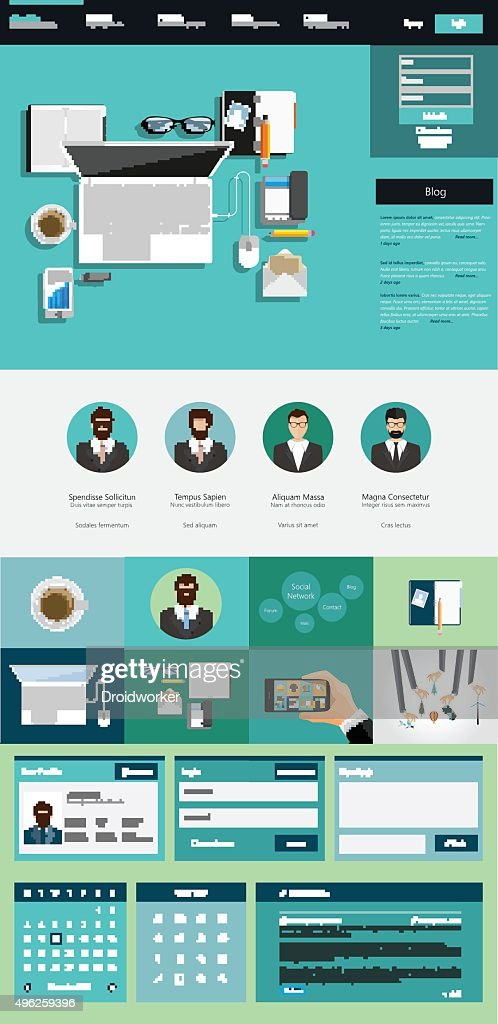 One Page Website interface template