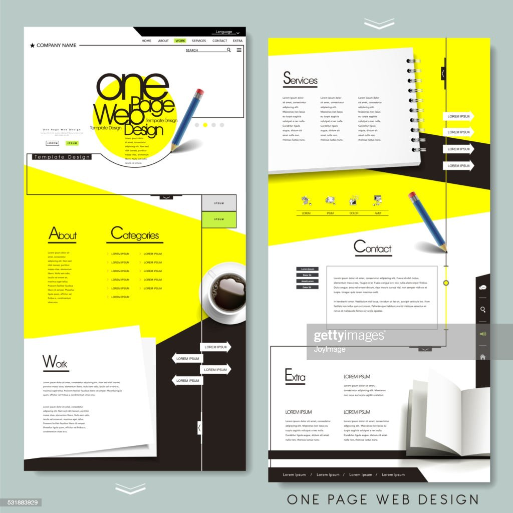one page website template design with stationery