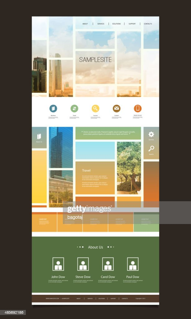 One Page Website Template, Different Header Designs