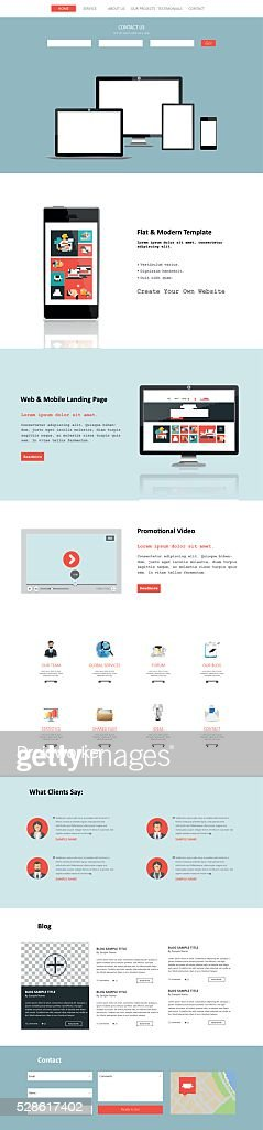 One Page Website Template in Flat Desing