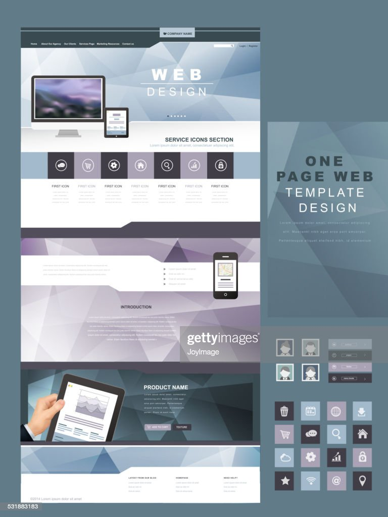 one page website template in geometric style