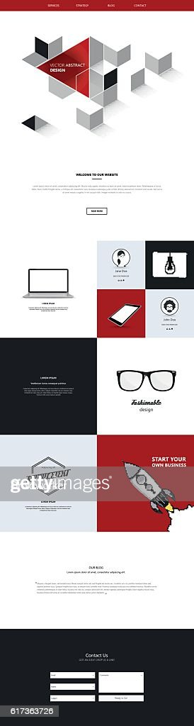 One page website template. Smartphone compatible web design.