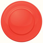 One red frisbee seen from above on a white background