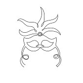 One single unbroken continuous line carnival mask with feathers for Mardi Gras, theatre theme