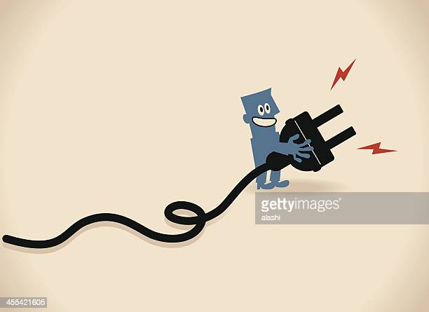 one smiling business people (businessman) showing a large electric plug - electric plug stock illustrations