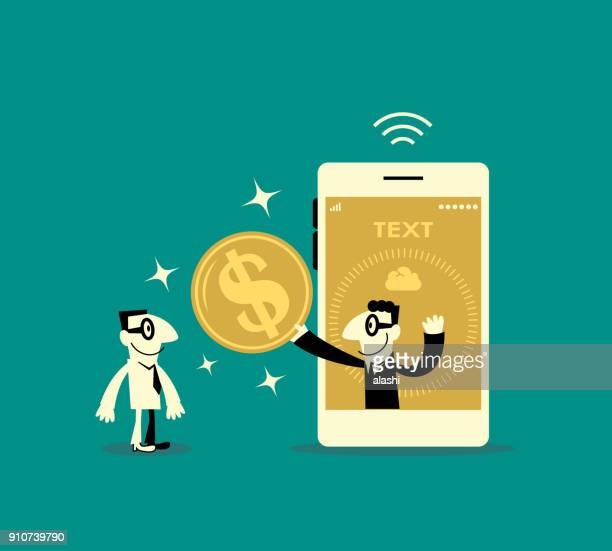 one smiling businessman inside a smart phone (mobile phone) showing a dollar sign currency coin to another man - financial technology stock illustrations, clip art, cartoons, & icons