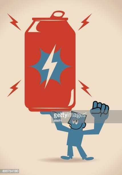 ilustrações, clipart, desenhos animados e ícones de um homem sorridente (jovem adulto, empresário) mostrando (carregando) pode um copo enorme de energia, mão levantada - drink can