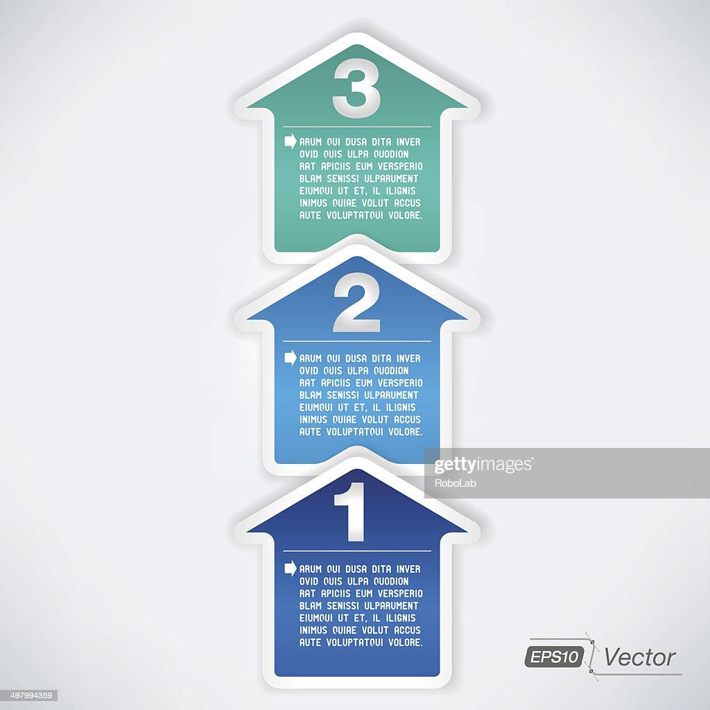 One two three arrow illustration - Three easy steps